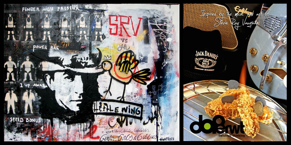 Gerecht: Texas ''little'' chickenwings, gepocheerd in melk, Jack Daniels en tabasco, gepaneerd in cornflakes Schilderij: Little Speed Wing, 120x160